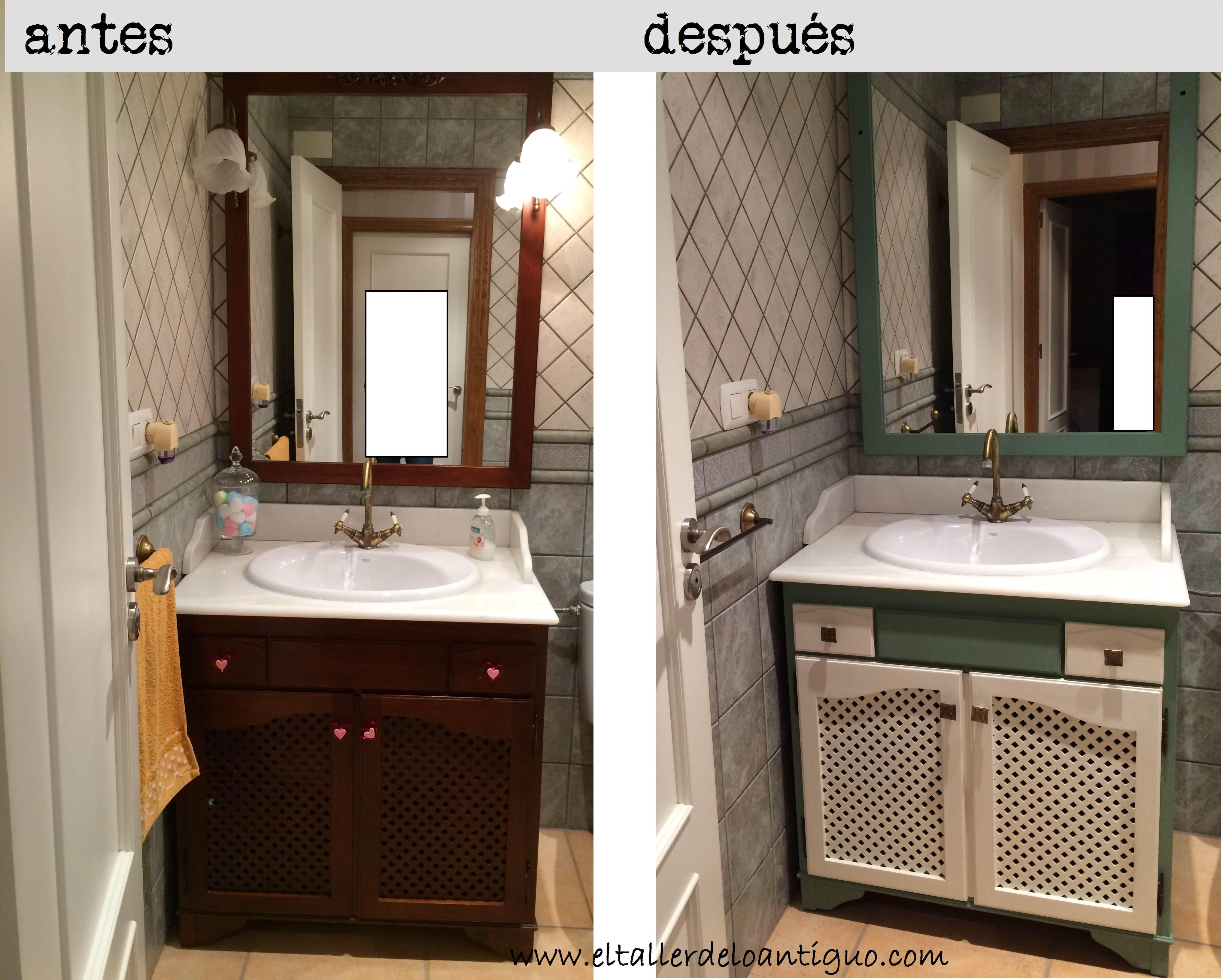 Pintar mueble de ba o el taller de lo antiguo for Como empapelar un mueble