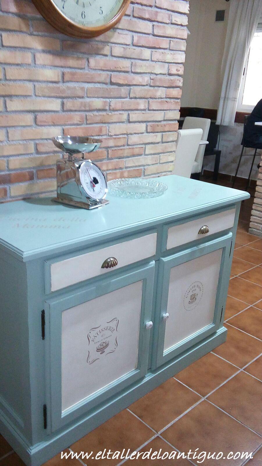 Pintar mueble de cocina el taller de lo antiguo - Pintar muebles antiguos en blanco ...