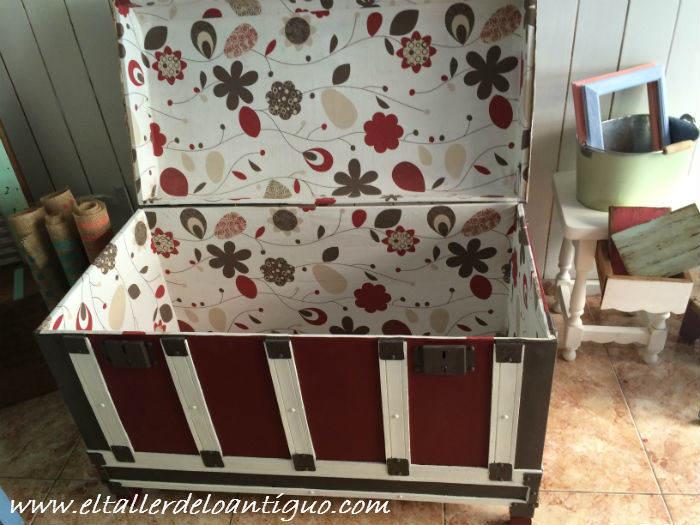Como forrar un ba l el taller de lo antiguo - Como forrar muebles con tela ...