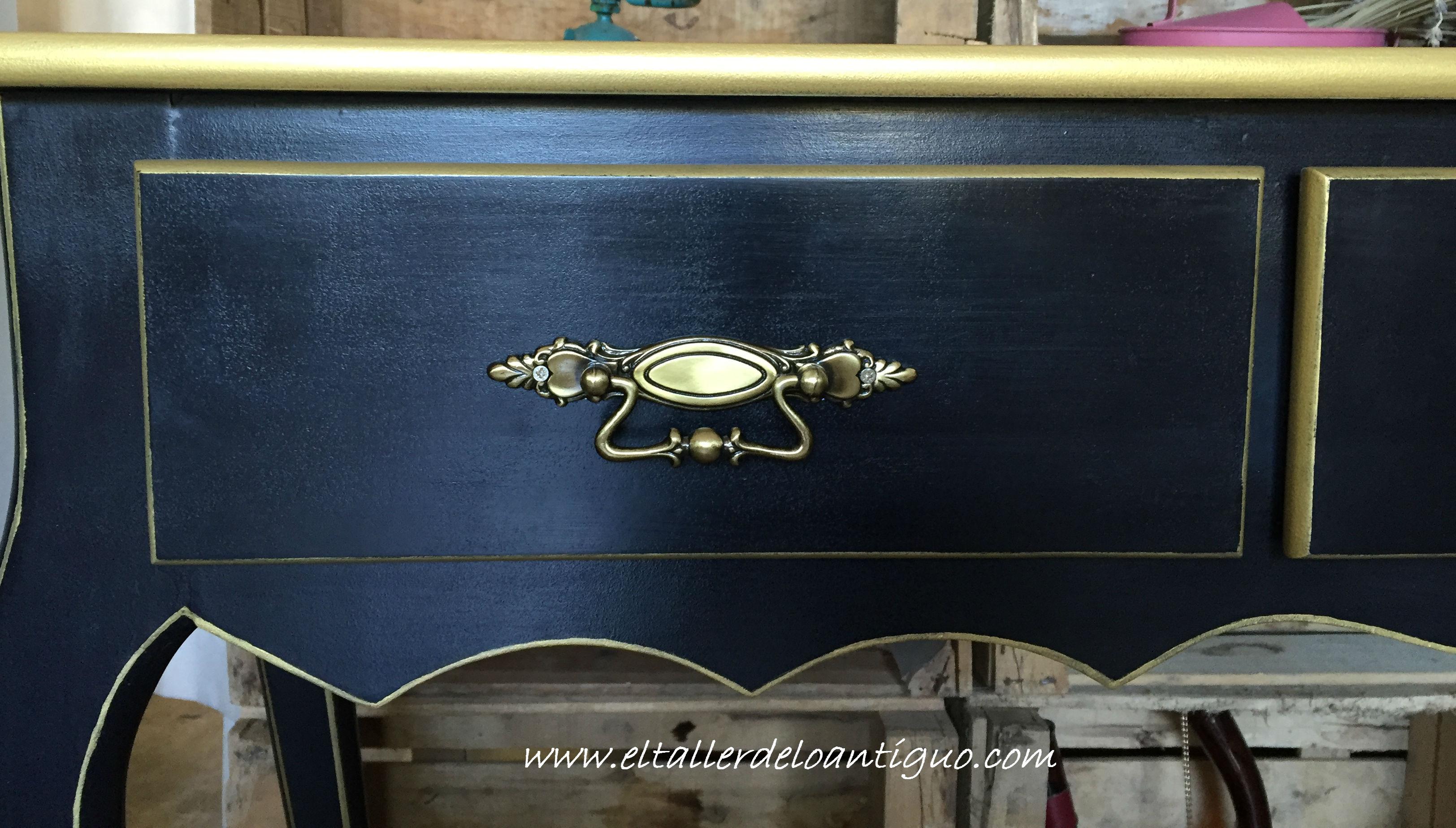 Pintar Mueble Negro y Oro - **El Taller de lo Antiguo