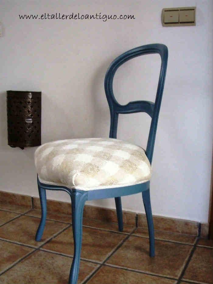 Pintamos una silla de azul el taller de lo antiguo for Quiero ver sillas